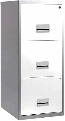 3 Drawer Pierre Henry Steel White & Silver Lockable Filing Cabinet A4 - Quality