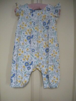 M&S Baby Girls' Multi-Coloured Floral Cotton Dungarees/Play Suit Age 0-3 Months