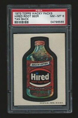 1973 Topps Wacky Packages Hired Root Beer tan back PSA 8 3rd series