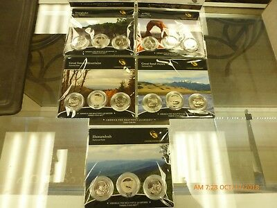 5 2014 America The Beautiful Us 3 Coin Sets Dunes, Arches, Everglades Ect.