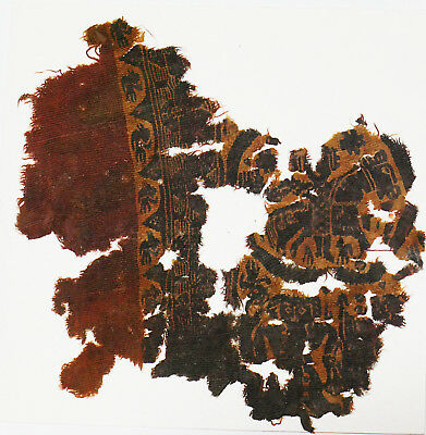 4-8C Ancient Coptic Textile Fragment - Part of Clothes, Horse & Person Pattern