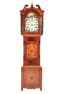 Antique Mahogany And Oak Grandfather Clock By WM Hargravers