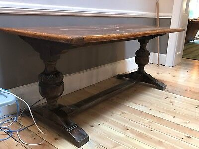 Vintage 17th century style narrow solid oak refectory or dining table