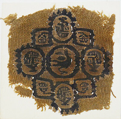 4-8C Ancient Coptic Textile Fragment -Part of Clothes, Bird & Human Face Pattern