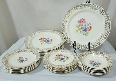 Vintage Glamour by Stetson China Hand Painted 22KT Gold Trim Set for 6 RARE!!