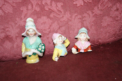 3 Antique or Vintage Half Dolls with Bonnets - for repair or art/craft