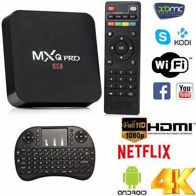 MXQ PRO 4K 2GB Smart IPTV BOX Android 7.1  64bit WiFi 16GB MiniPC + Tastiera