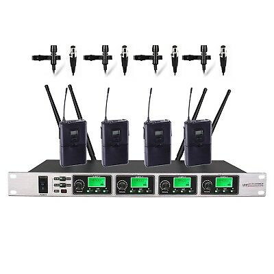 "4 Channel PRO UHF Lapel Lavalier Tie Clip Wireless Microphone 19"" Rack Mount"