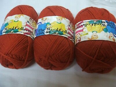 3 X 100Gm Balls Pure Wool In 8 Ply From The Wool Collection In A Russet Colour