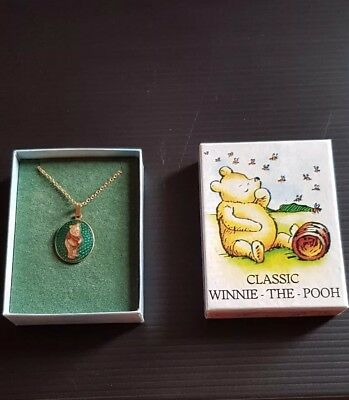 Vintage 22ct gold plated Disney Winnie the Pooh Necklace Signed Fish jewellery