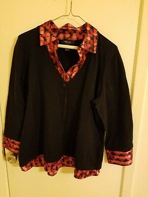 Women's Style & Co. Black with Burgundy print Sweater - size 1X