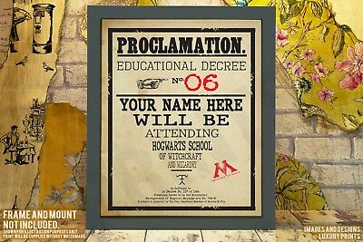 Personalised Harry Potter Hogwarts Proclamation Gift Present Canvas Prop