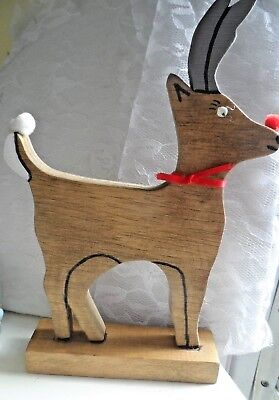 Wood Christmas Decir - HAND CRAFTED RUDOLPH THE RED NOSE REINDEER