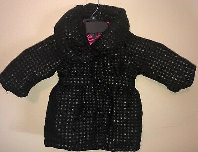 DKNY Baby Girl Peacoat Jacket Black And Pink 12 Month 12M Pockets Wool Blend