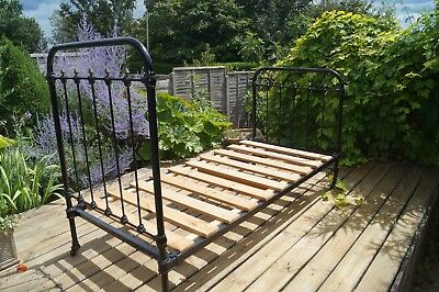 Antique single Victorian cast iron black bed frame used very good condition