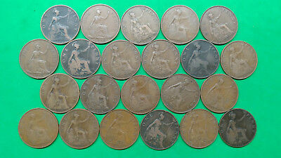 Mixed Lot of 22 Old British Large Penny Coins 1897-1948 !!  H