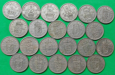 Lot of 22 Different Old British Shilling Coins 1948-63 English & Scottish Crest