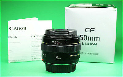 Canon EF 50mm F1.4 USM Prime Lens : Sold with Front  & Rear lens Caps & Box