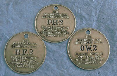 3 DEARBORN INN HOTEL Key Fob Brass Tags: Henry Ford; P Henry, Wolcott, Fritchie