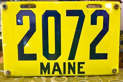 1912 Maine Porcelain License Plate No Reserve 1 Family Owned