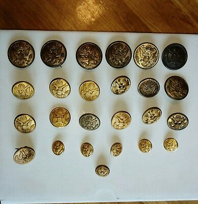 25 old brass military buttons WJ Bailey,Scovill,Sutton, Waterbury