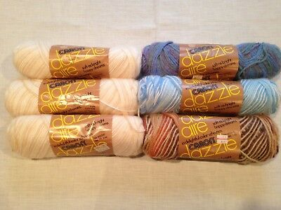Lot of 6 Skeins Vintage Caron Dazzleaire Ombre Yarn Blue Sands Wisteria Navaho
