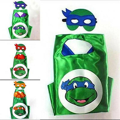 4Color Ninja Turtles Cape with Mask Cloak Festival Gift for Boys and Girls~