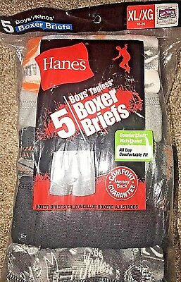 Pack of 5 Boys Hanes Tagless Boxer Briefs Underwear Size XL 18-20