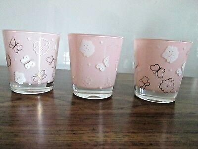Vintage Gay Fad (?) Pink Mid Century Old Fashioned/high Ball Glasses (3) E.c.