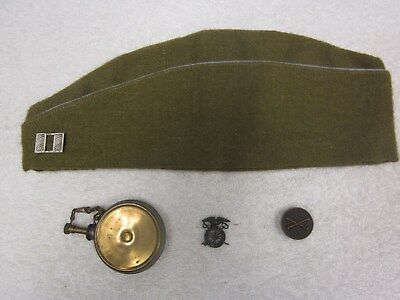 WW I  OFFICER-- CAPTAIN's CAP--INSIGNIA PINS--OIL CAN