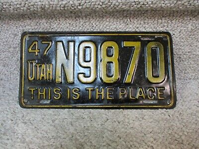 A+ 1947 Utah This Is The Place License Plate