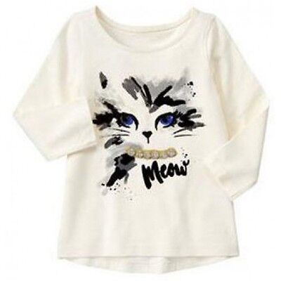 Gymboree 12-18 Months Cat Gem Top CATASTIC Kitty Meow Ivory Long Sleeve Girls