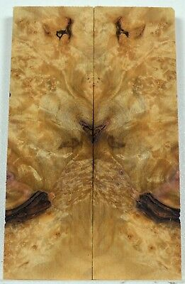 knife Scales MAPLE BURL Bookmatch Pistol Grips Handle Wood Craft gk479