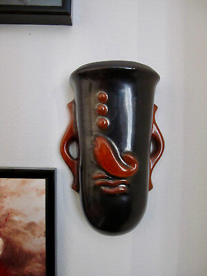 30s Vintage Art Deco Small Ceramic Wall Vase