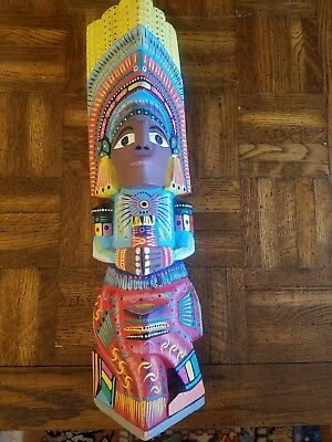 Vintage Indian Hand Carved & Painted Wood Totem Pole