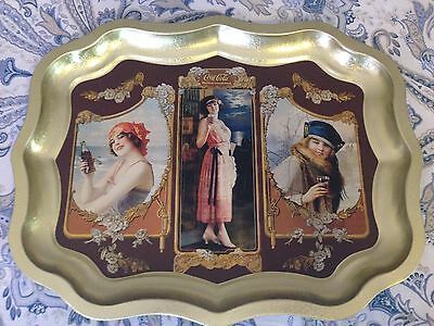 New Coca-Cola Serving Tray, Metal with 3 Beautiful Girl Vignettes