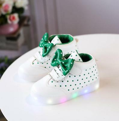 LE LED Sneakers Light Lace Up Kids Shoes Luminous Girls Child Bow Shoes