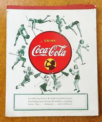 c1940 COCA-COLA ADVERTISING NOTEBOOK - SPORTS on COVER & U.S. PRESIDENTS INSIDE