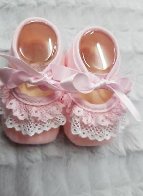 Pex Baby Girls Pink Spanish Style Velour Lace & Ribbon Tie Pram Shoes Booties