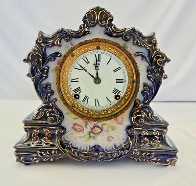 Antique Ansonia Movement& Dresden Cobalt Porcelain Case Mantle Clock 1882 WORKS