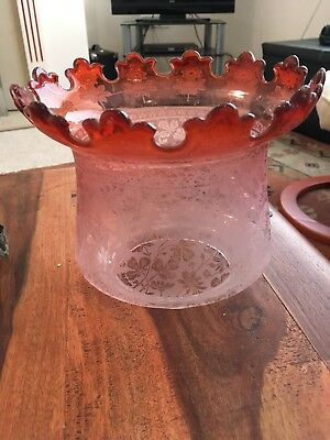 Cranberry To Clear Etched Glass Oil Lamp Shade