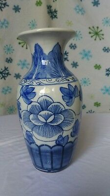 Antique Chinese late 18th or early 19th Century blue and white porcelain vase