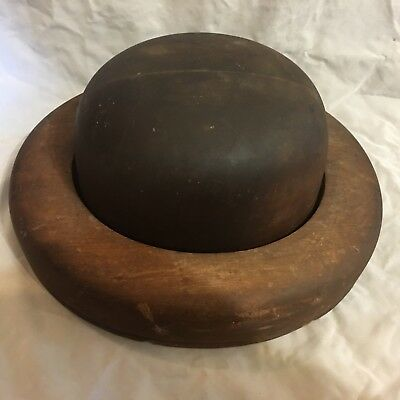 """Old Wood Hat Block Mold Form with Brim Millinery 6 to 7 5/8"""" From #951 & #714"""