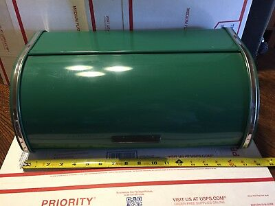 Vintage BRABANTIA Forest Green & Chrome Roll Top Bread Box