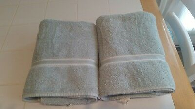ESSENCE MATCHING 2 Large Absorbent Bath Towels, Light Green, USA MADE