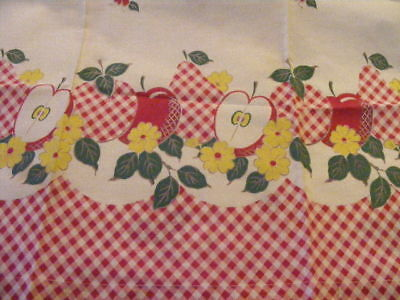 Vintage  Kitchen Curtains  Apples 1 Pr  - 2 Valances Red gingham