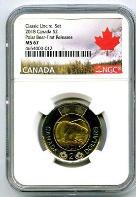 2018 Canada $2 Polar Bear Classic Toonie Ngc Ms67 First Releases Top Pop Only 7