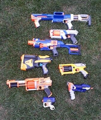 Job Lot Of 8 Nerf Guns Dart Tag Elite Strong-arm Raider slingshot bullet blaster