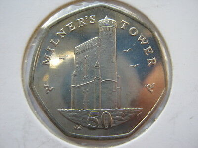 Isle of Man 2007 Milner's Tower copper nickel fifty pence 50p UNC