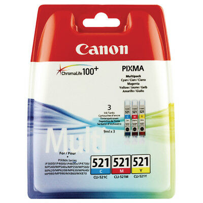 Genuine Canon CLI-521 Multi Pack Cyan,Magenta,Yellow Ink Tanks Pixma CLI521 521